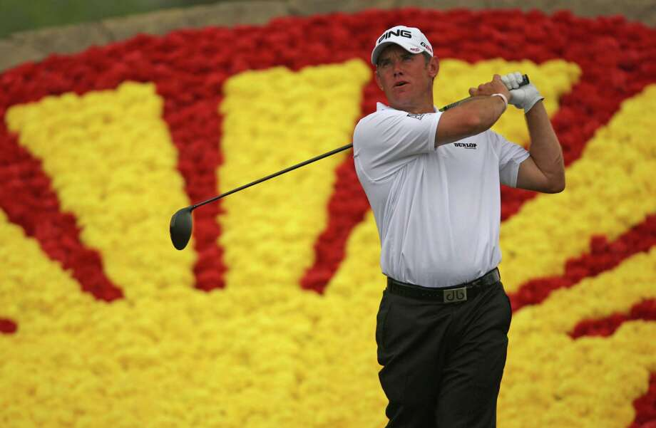 Lee Westwood follows through on his tee shot on No. 18 during the third round of the Shell Houston Open, Saturday, March 30, 2013 at the Redstone Tournament Course in Humble. (Photo: Eric Christian Smith/For the Houston Chronicle) Photo: Eric Christian Smith, For The Chronicle