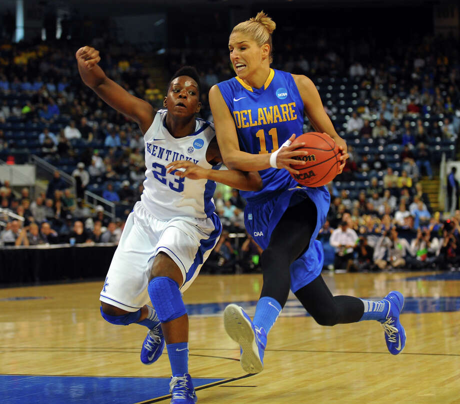 University of Delaware's Elena Delle Donne drives to the basket as University of Kentucky's Samarie Walker defends, during the women's NCAA Tournament Regional Semifinals at the Webster Bank Arena in Bridgeport, Conn. on Saturday March 30, 2013. Photo: Christian Abraham / Connecticut Post