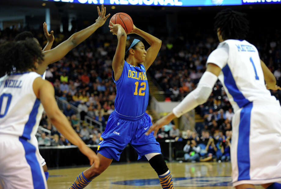 University of Delaware's Danielle Parker looks to pass the ball, during women's NCAA Tournament Regional Semifinal action against University of Kentucky at the Webster Bank Arena in Bridgeport, Conn. on Saturday March 30, 2013. Photo: Christian Abraham / Connecticut Post