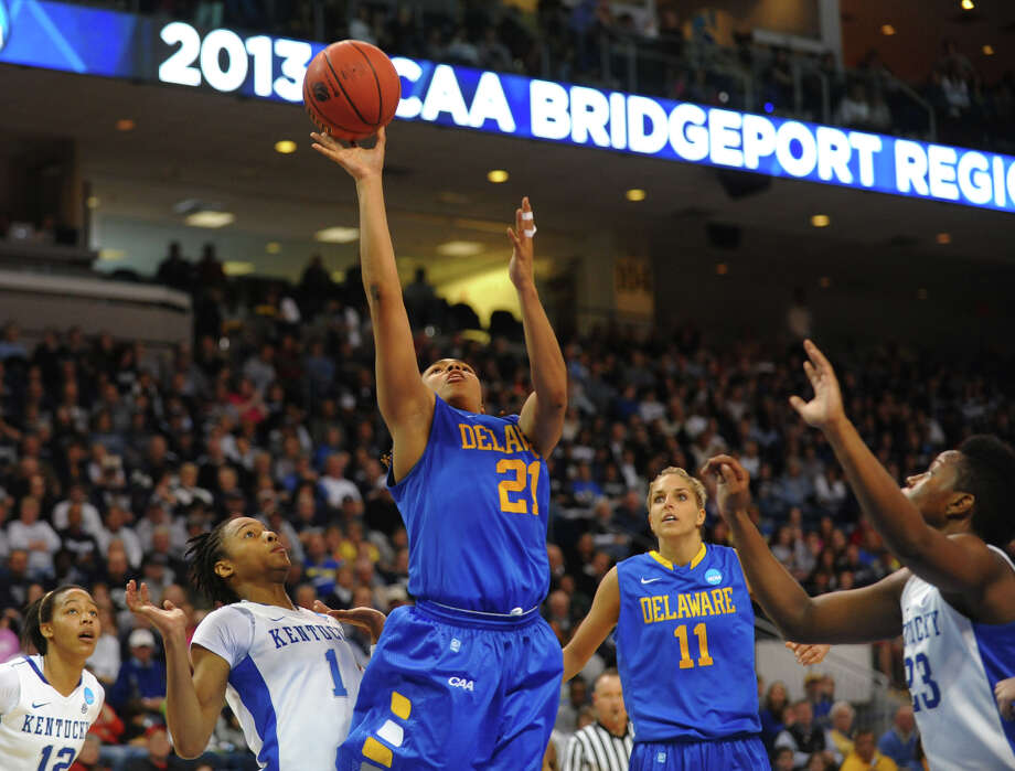 University of Delaware's Trumae Lucas looks for two, during women's NCAA Tournament Regional Semifinal action against University of Kentucky at the Webster Bank Arena in Bridgeport, Conn. on Saturday March 30, 2013. Photo: Christian Abraham / Connecticut Post