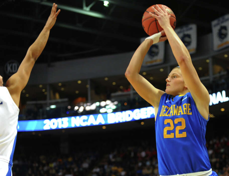 University of Delaware's Lauren Carra attempts a shot, during women's NCAA Tournament Regional Semifinal action against University of Kentucky at the Webster Bank Arena in Bridgeport, Conn. on Saturday March 30, 2013. Photo: Christian Abraham / Connecticut Post