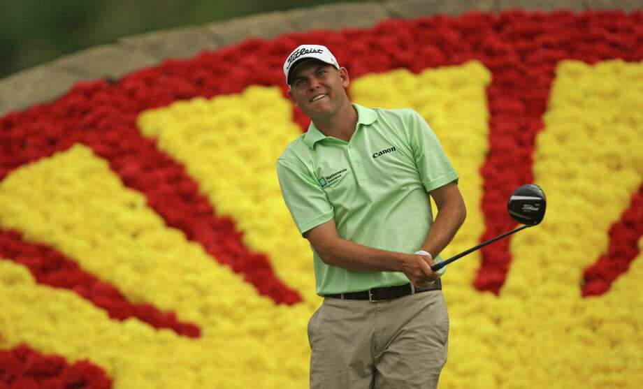 Bill Haas eyes his tee shot on No. 18 during the third round of the Shell Houston Open, Saturday, March 30, 2013 at the Redstone Tournament Course in Humble. (Photo: Eric Christian Smith/For the Houston Chronicle) Photo: Eric Christian Smith, For The Chronicle