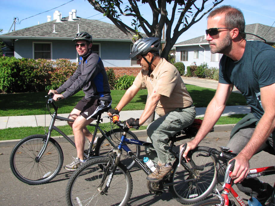 Swalwell and constituents ride through Hayward's Cherryland neighborhood.