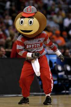 LOS ANGELES, CA - MARCH 30:  Brutus, the mascot of the Ohio State Buckeyes, performs during a break in the game against the Wichita State Shockers during the West Regional Final of the 2013 NCAA Men's Basketball Tournament at Staples Center on March 30, 2013 in Los Angeles, California. Photo: Jeff Gross, Getty Images / 2013 Getty Images