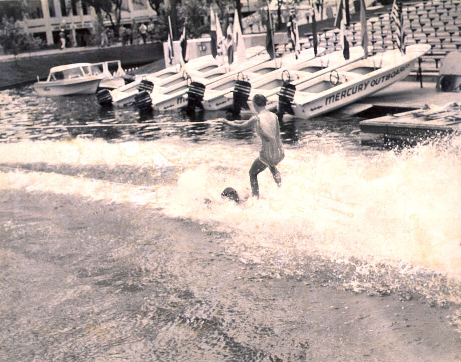 Water skier performs on HemisFair Lake as part the Mercury Water Ski Show at HemisFair '68. Photo: San Antonio Express-News File Photo