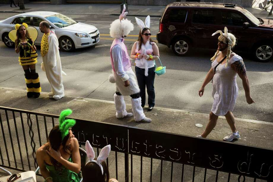 Colorful masses of rabbit-eared attendees mobbed the streets of downtown. Photo: JORDAN STEAD / SEATTLEPI.COM
