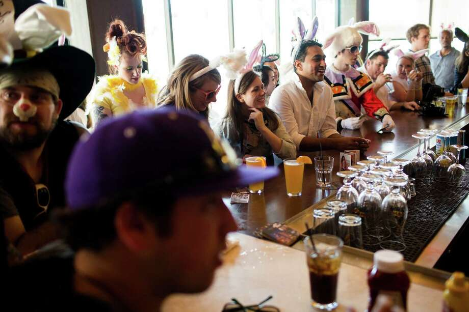Colorful masses of rabbit-eared attendees pack Hard Rock Cafe. Photo: JORDAN STEAD / SEATTLEPI.COM