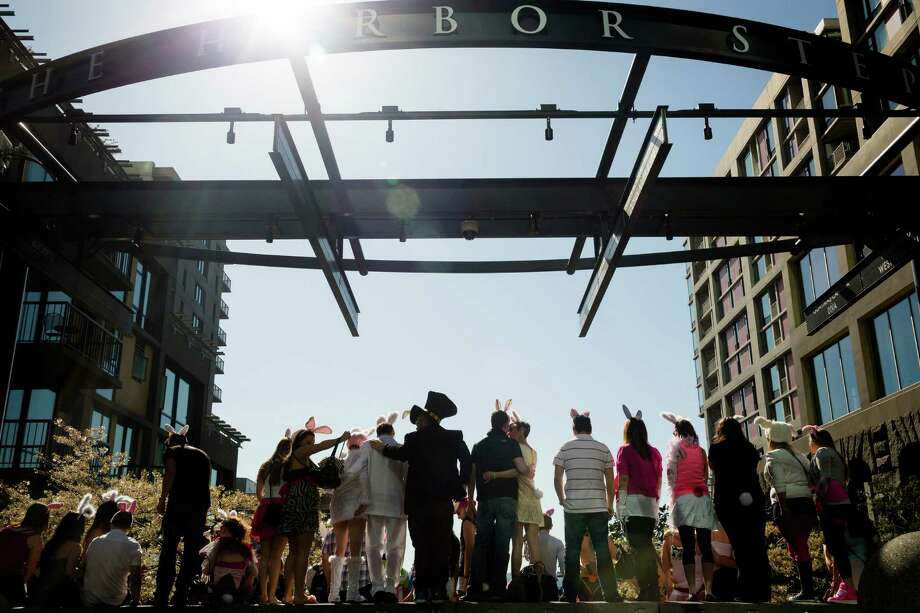 Colorful masses of rabbit-eared attendees mob the Harbor Steps. Photo: JORDAN STEAD / SEATTLEPI.COM