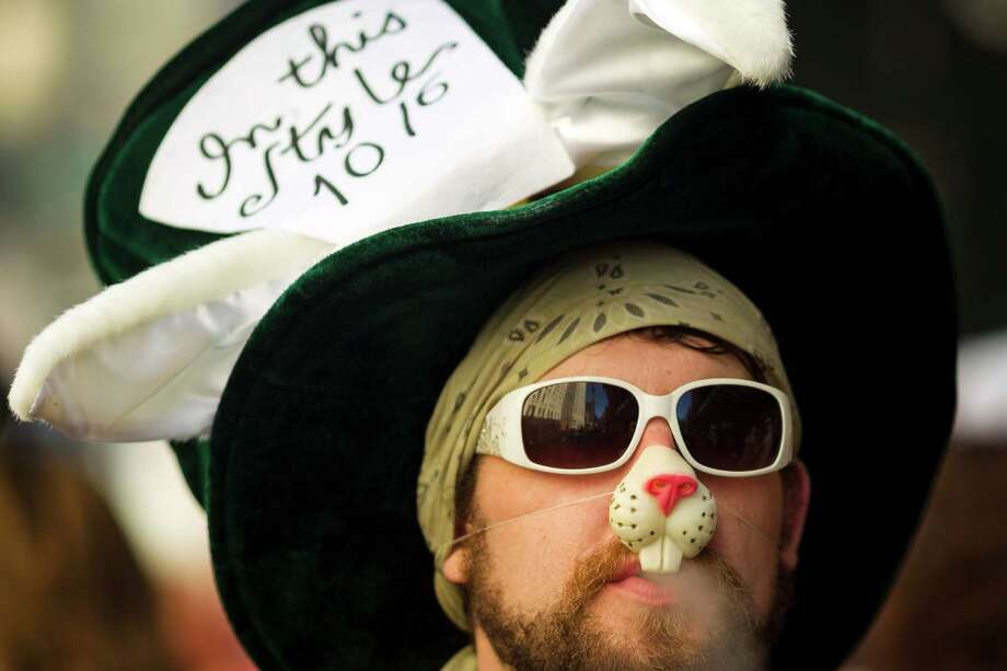 A nicotine-indulging bunny exhales smoke. Photo: JORDAN STEAD / SEATTLEPI.COM