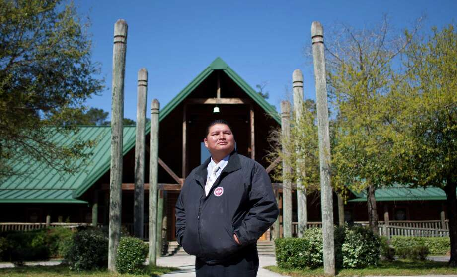Kyle Williams, chairman of the  Alabama-Coushatta Tribe, stands in front of what was a gaming casino that turned $1 million a month profit for nine months until it was shut in a decision by a federal court. Photo: Nick De La Torre, Staff / © 2013 Houston Chronicle