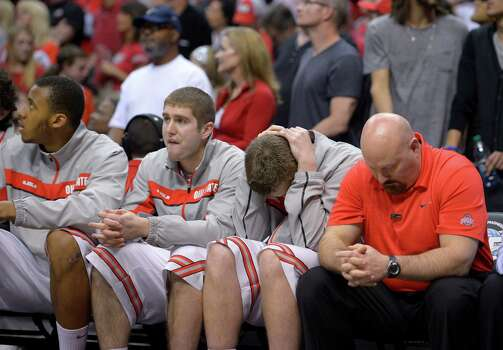The Ohio State bench watches as their team loses 70-66 to Wichita State in the West Regional final in the NCAA men's college basketball tournament, Saturday, March 30, 2013, in Los Angeles. (AP Photo/Mark J. Terrill) Photo: Mark J. Terrill, Associated Press / AP