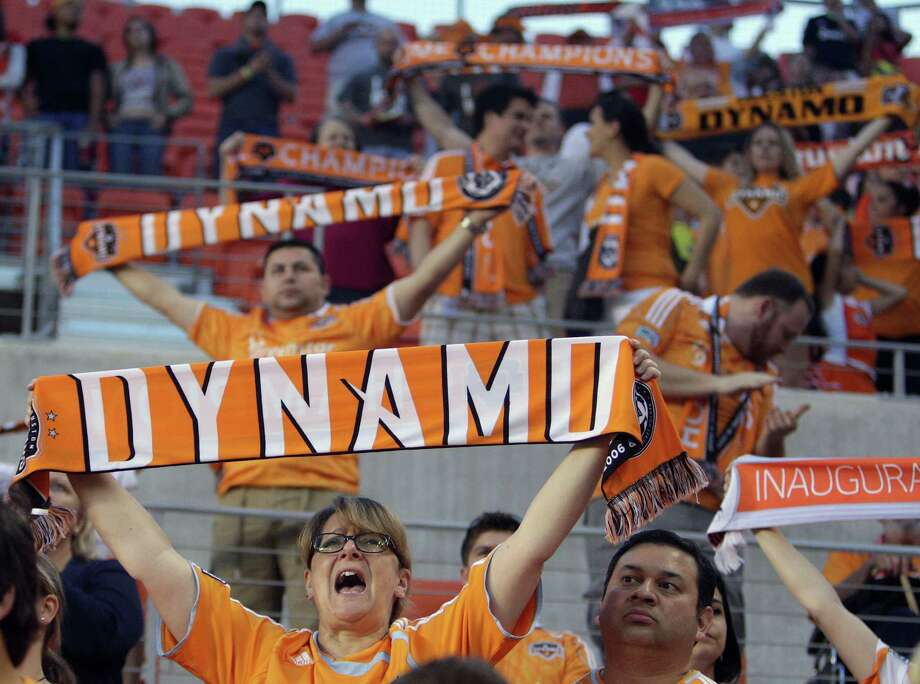 Houston Dynamo fans cheer before the MLS soccer game the Houston Dynamo and the San Jose Earthquakes at BBVA Compass Stadium Saturday, March 30, 2013, in Houston . Photo: James Nielsen, Houston Chronicle / © 2013 Houston Chronicle