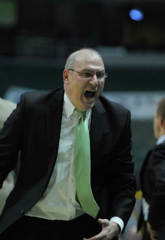 FILE — Former Siena men's basketball coach Mitch Buonaguro reacts angrily during the second half of Siena's 64-58 loss to St. Bonaventure at the Times Union Center on Monday night Nov. 21, 2011 in Albany, NY. (Philip Kamrass / Times Union ) Photo: Philip Kamrass / 00015373B