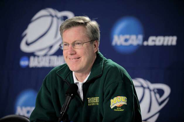 Siena coach Fran McCaffery talks to reporters prior to NCAA college basketball practice in Spokane, Wash., Thursday, March 18, 2010. Siena plays Purdue in a first-round game on Friday. (AP Photo/Ted S. Warren) Photo: Ted S. Warren / AP