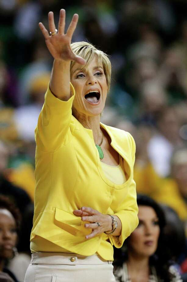 FILE - In this Jan. 19, 2013, file photo, Baylor head coach Kim Mulkey instructs her team in the first half of an NCAA college basketball game against West Virginia in Waco, Texas. (AP Photo/Tony Gutierrez, File) Photo: Tony Gutierrez