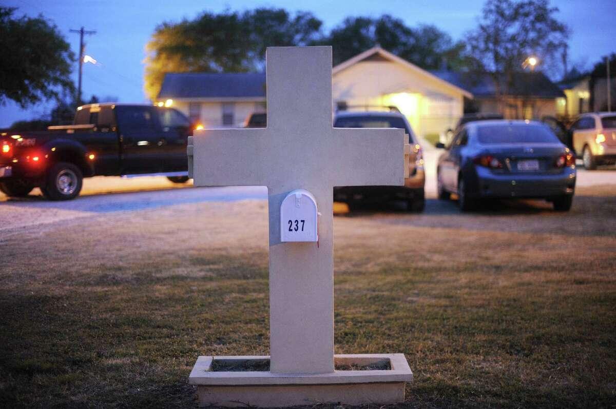 The mailbox at the Hosanna Baptist Church in Poteet.