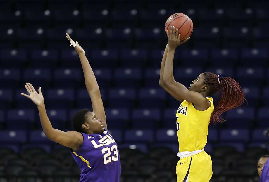 California's Gennifer Brandon shoots against LSU's Shanece McKinney (23) in the first half of a regional semifinal game in the NCAA women's college basketball tournament Saturday, March 30, 2013, in Spokane, Wash. (AP Photo/Elaine Thompson) Photo: Elaine Thompson, Associated Press