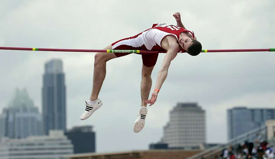 Indiana's Derek Drouin competes in the university high jump at the Texas Relays athletics meet, Saturday, March 30, 2013, in Austin. (AP Photo/Eric Gay) Photo: Eric Gay, Associated Press