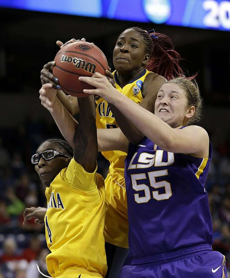 LSU's Theresa Plaisance (55) battles California's Avigiel Cohen, left, and Gennifer Brandon for a loose ball in the second half of a regional semifinal game in the NCAA women's college basketball tournament Saturday, March 30, 2013, in Spokane, Wash. (AP Photo/Elaine Thompson) Photo: Elaine Thompson, Associated Press