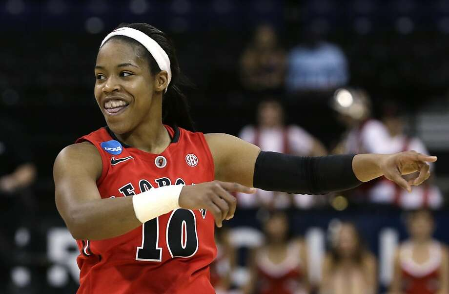 Georgia's Jasmine James celebrates in the final moments against Stanford in a regional semifinal in the NCAA women's college basketball tournament Saturday, March 30, 2013, in Spokane, Wash. Georgia won 61-59. (AP Photo/Elaine Thompson) Photo: Elaine Thompson, Associated Press