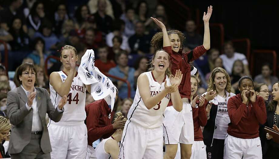 Stanford's bench reacts to a score against Georgia in the first half of a regional semifinal in the NCAA women's college basketball tournament Saturday, March 30, 2013, in Spokane, Wash. (AP Photo/Elaine Thompson) Photo: Elaine Thompson, Associated Press