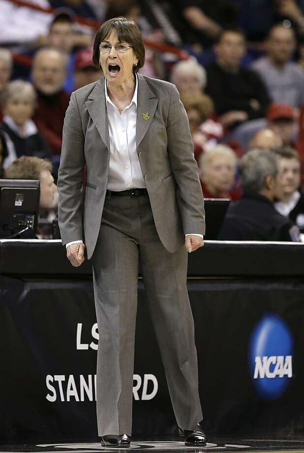 Stanford coach Tara VanDerveer yells during the first half of Stanford's regional semifinal against Georgia in the NCAA women's college basketball tournament Saturday, March 30, 2013, in Spokane, Wash. (AP Photo/Elaine Thompson) Photo: Elaine Thompson, Associated Press
