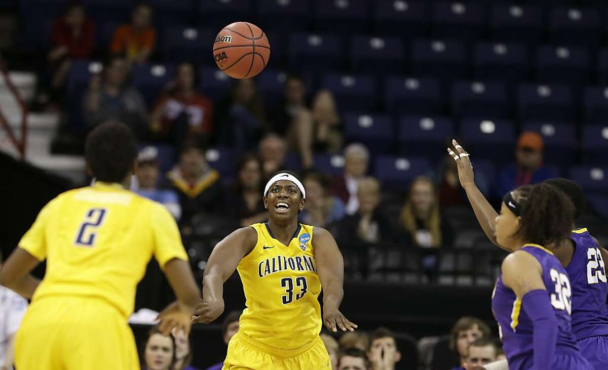 California's Talia Caldwell (33) passes to Afure Jemerigbe (2) during the first half against LSU in a regional semifinal in the NCAA women's college basketball tournament Saturday, March 30, 2013, in Spokane, Wash. (AP Photo/Elaine Thompson)