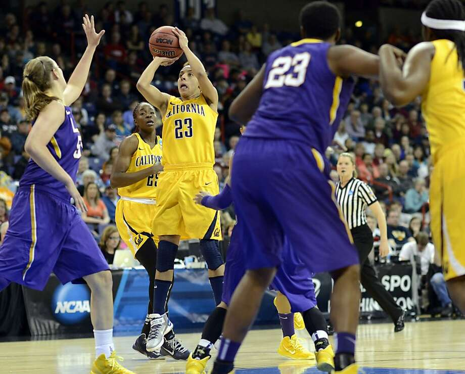 California's Layshia Clarendon (23) shoots against LSU in the first half of a regional semifinal game in the NCAA women's college basketball tournament, Saturday March 30, 2013 in Spokane, Wash. (AP Photo/Jed Conklin) Photo: Jed Conklin, Associated Press