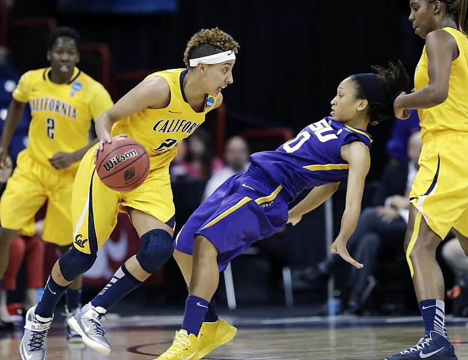 California's Layshia Clarendon, left, drives against LSU's Adrienne Webb in the first half of a regional semifinal game in the NCAA women's college basketball tournament Saturday, March 30, 2013, in Spokane, Wash. (AP Photo/Elaine Thompson) Photo: Elaine Thompson, Associated Press