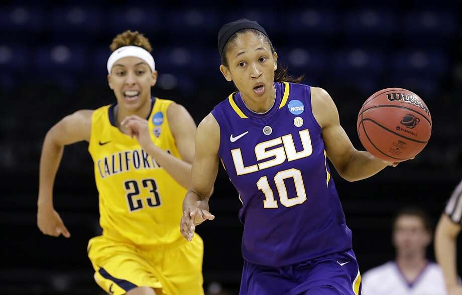 LSU's Adrienne Webb (10) leads California's Layshia Clarendon in the first half of a regional semifinal game in the NCAA women's college basketball tournament Saturday, March 30, 2013, in Spokane, Wash. (AP Photo/Elaine Thompson) Photo: Elaine Thompson, Associated Press