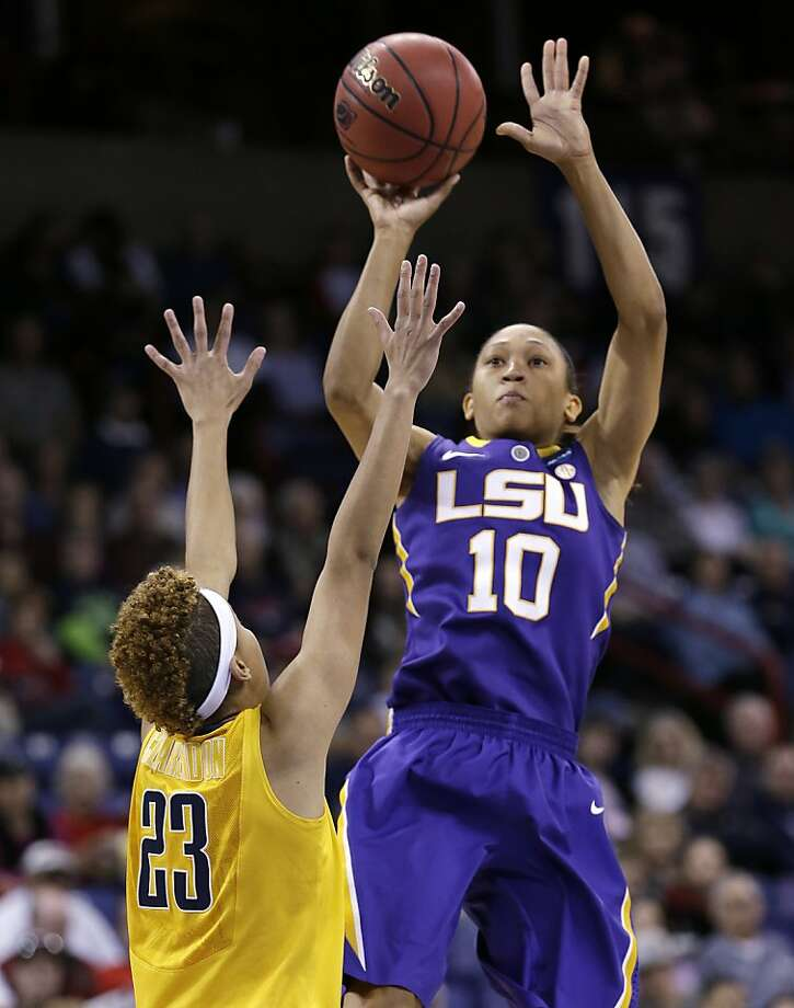 LSU's Adrienne Webb (10) shoots over California's Layshia Clarendon in the first half of a regional semifinal in the NCAA women's college basketball tournament Saturday, March 30, 2013, in Spokane, Wash. (AP Photo/Elaine Thompson) Photo: Elaine Thompson, Associated Press