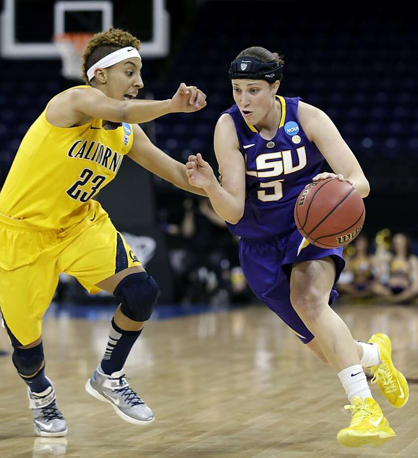 LSU's Jeanne Kenney, right, tries to drive past California's Layshia Clarendon in the first half of a regional semifinal game in the NCAA women's college basketball tournament Saturday, March 30, 2013, in Spokane, Wash. (AP Photo/Elaine Thompson) Photo: Elaine Thompson, Associated Press
