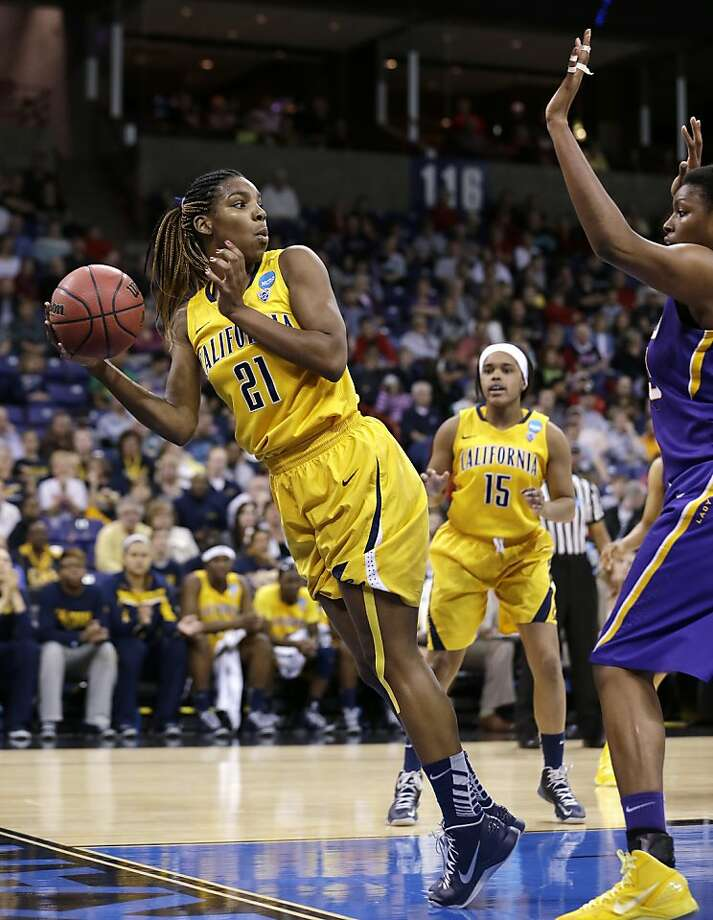 California's Reshanda Gray (21) tries to keep the ball inbound against LSU in the first half of a regional semifinal game in the NCAA women's college basketball tournament Saturday, March 30, 2013, in Spokane, Wash. (AP Photo/Elaine Thompson) Photo: Elaine Thompson, Associated Press