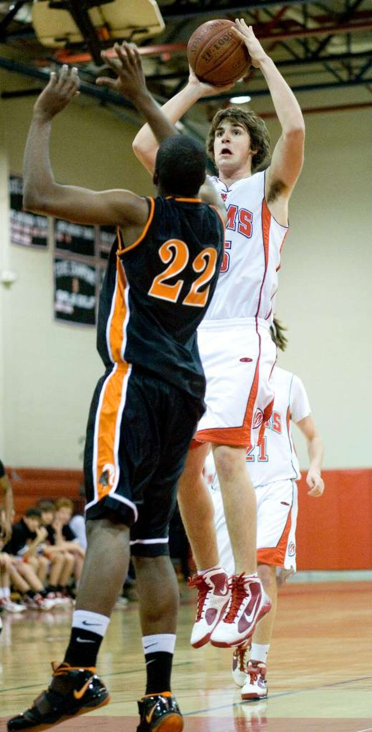 Stamford High School plays New Canaan High School in boys basketball in New Canaan.