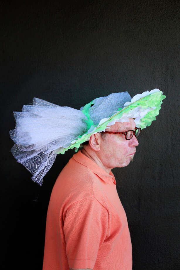 Easter bonnet designer mastermind extraordinaire Joe Mac models his church lady creation. Photo: Mike Kepka, The Chronicle / ONLINE_YES