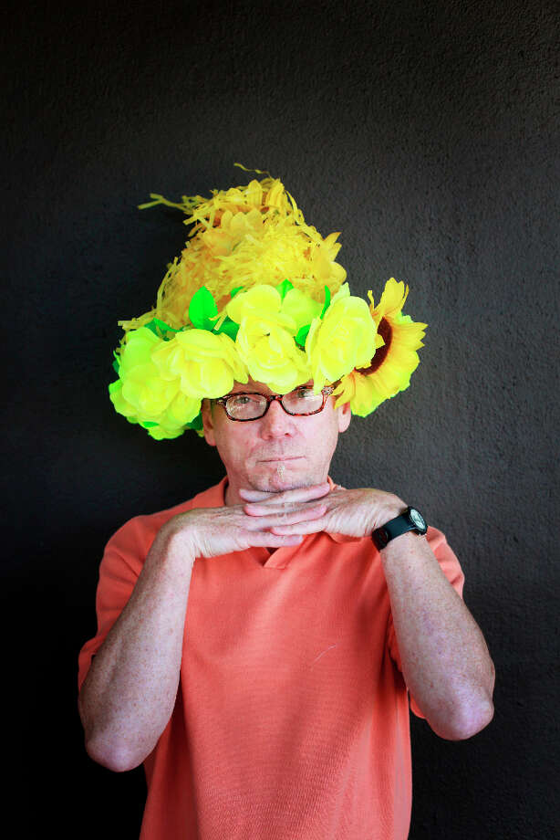 Easter bonnet designer mastermind extraordinaire Joe Mac models his too much yellow creation. Photo: Mike Kepka, The Chronicle / ONLINE_YES