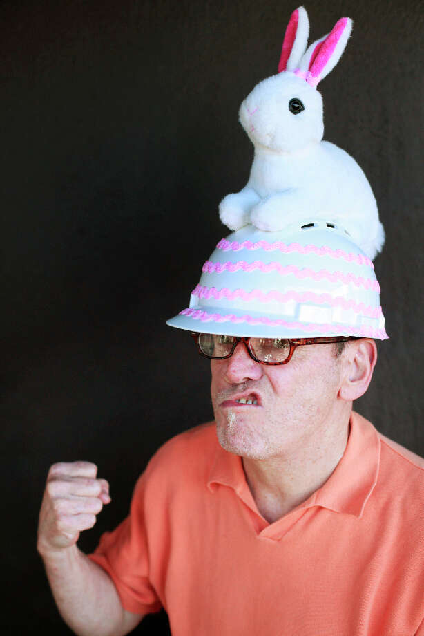 Easter bonnet designer mastermind extraordinaire Joe Mac models his construction worker bunny creation. Photo: Mike Kepka, The Chronicle / ONLINE_YES