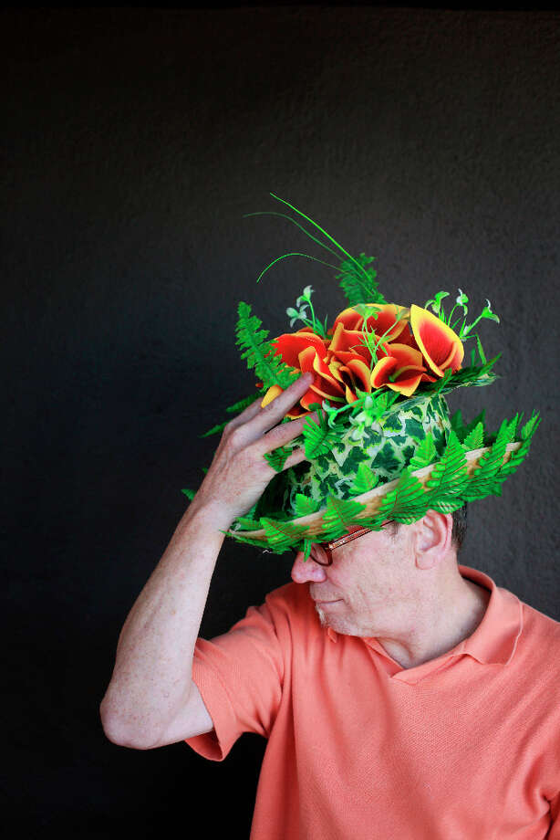 Easter bonnet designer mastermind extraordinaire Joe Mac models his water garden creation. Photo: Mike Kepka, The Chronicle / ONLINE_YES