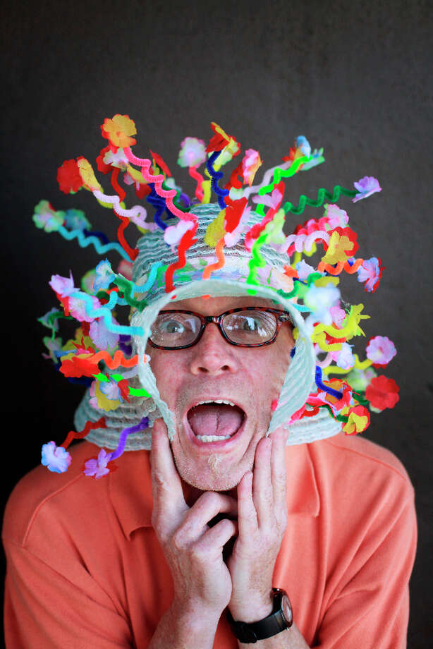 Easter bonnet designer mastermind extraordinaire Joe Mac models his pipe cleaner flower creation. Photo: Mike Kepka, The Chronicle / ONLINE_YES