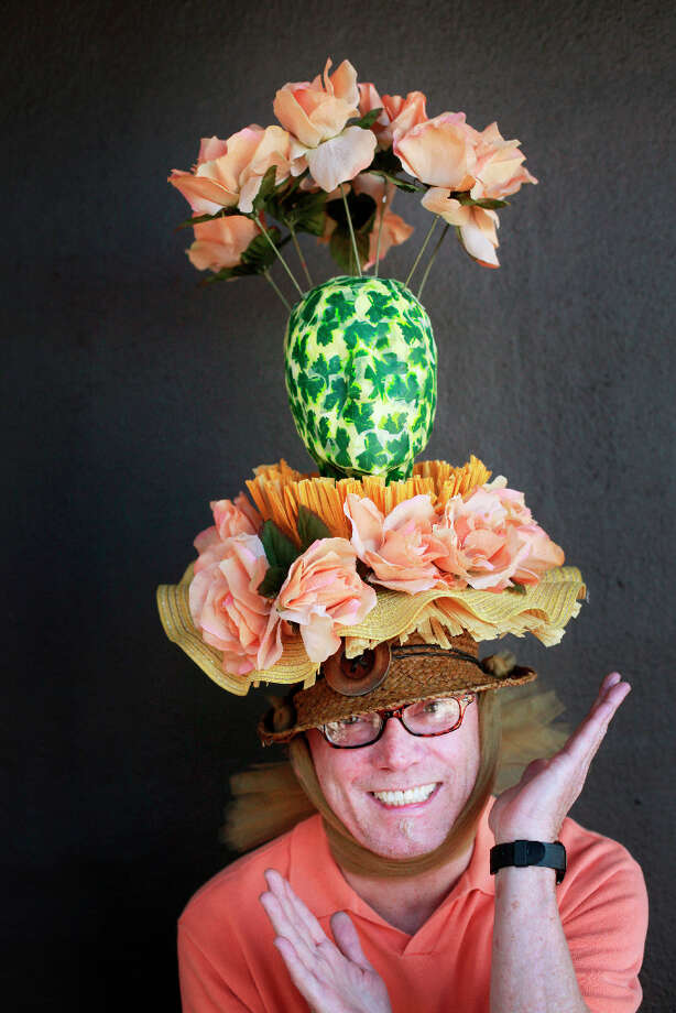 Easter bonnet designer mastermind extraordinaire Joe Mac models his green flower pot creation. Photo: Mike Kepka, The Chronicle / ONLINE_YES