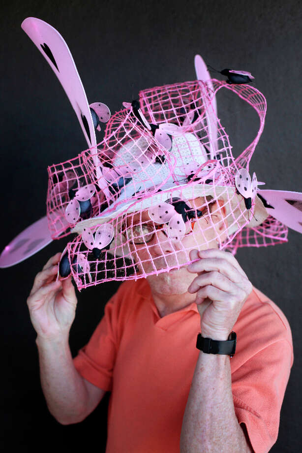 Easter bonnet designer mastermind extraordinaire Joe Mac models his couture creation. Photo: Mike Kepka, The Chronicle / ONLINE_YES