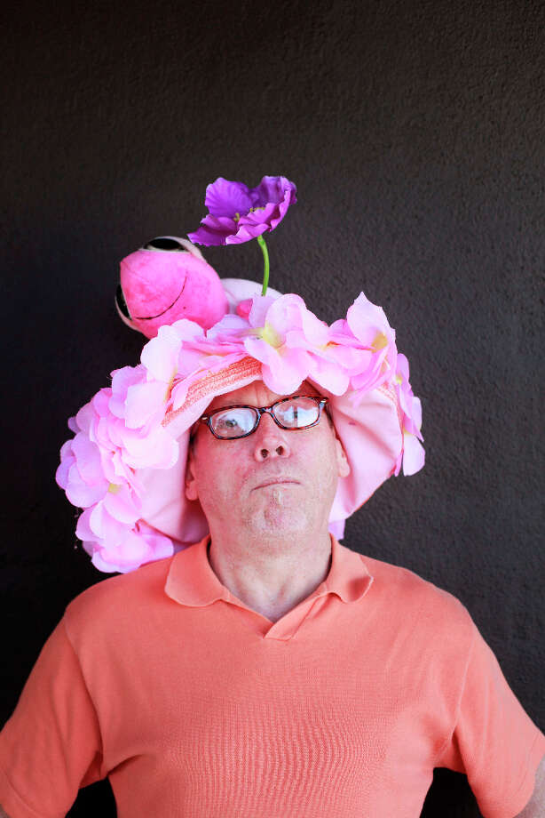 Easter bonnet designer mastermind extraordinaire Joe Mac models his pink turtle creation. Photo: Mike Kepka, The Chronicle / ONLINE_YES