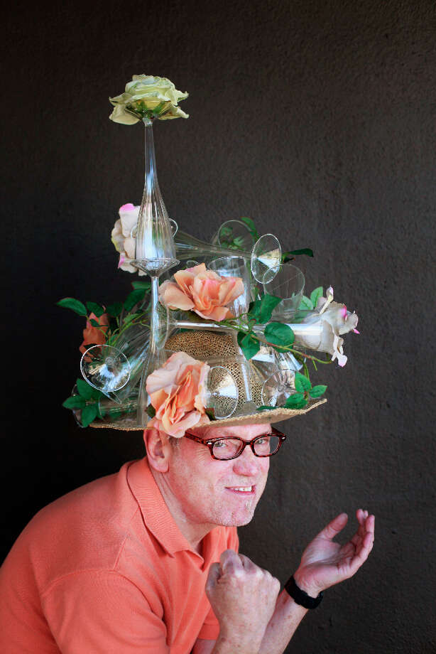 Easter bonnet designer mastermind extraordinaire Joe Mac models his day after New Year's creation. Photo: Mike Kepka, The Chronicle / ONLINE_YES