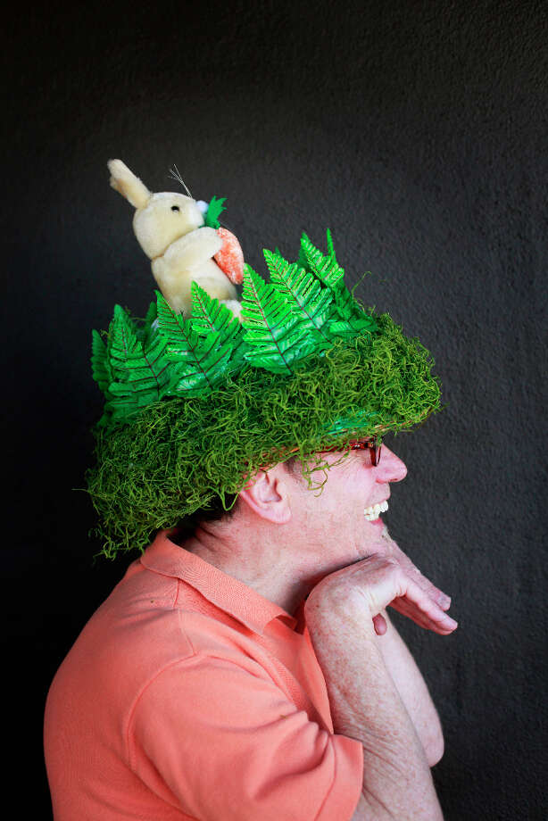 Easter bonnet designer mastermind extraordinaire Joe Mac models his bunny in the forest creation. Photo: Mike Kepka, The Chronicle / ONLINE_YES