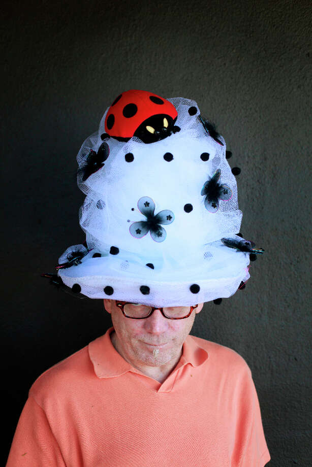 Easter bonnet designer mastermind extraordinaire Joe Mac models his lady bug creation. Photo: Mike Kepka, The Chronicle / ONLINE_YES