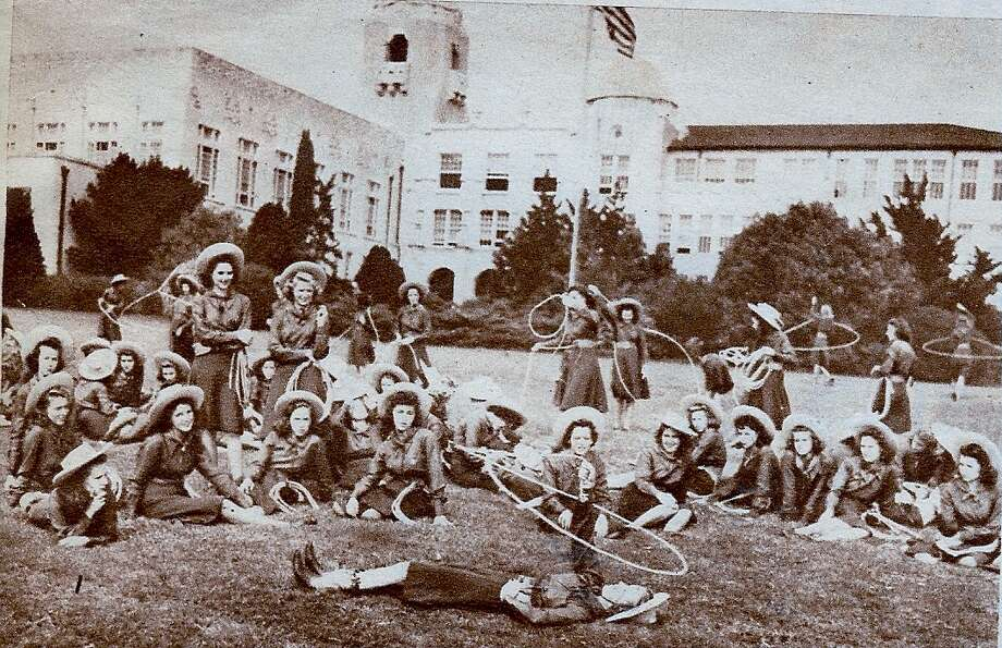 Lassos lounging and roping on the front lawn at Thomas Jefferson High School, early 1940s. Photo: Courtesy Photo,      Lasso Alumni Association