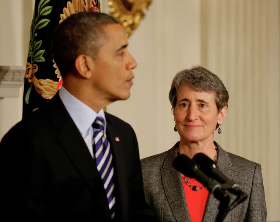 President Barack Obama, left, announces he is nominating REI CEO Sally Jewell (right) as the next Interior Secretary replacing outgoing Interior Secretary Ken Salazar, during an event in the State Dining Room of the White House in Washington, Wednesday, Feb. 6, 2013. Photo: Pablo Martinez Monsivais, Associated Press / AP