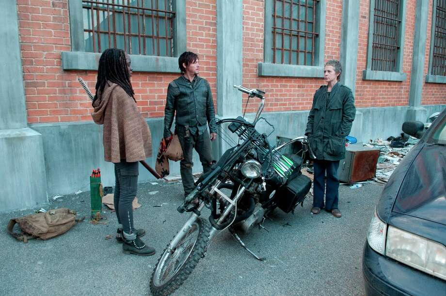 Michonne (Danai Gurira), Daryl Dixon (Norman Reedus) and Carol (Melissa Suzanne McBride) - The Walking Dead - Season 3, Episode 16 - Photo Credit: Gene Page/AMC Photo: Gene Page