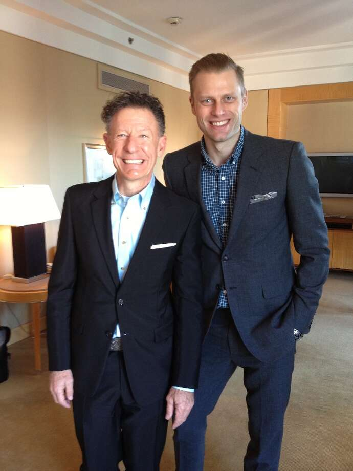 Houston-based actor and musician Lyle Lovett, left, with Gilt Groupe VP Tyler Thoreson at the Lyle Lovett for Hamilton Shirts press preview in New York.