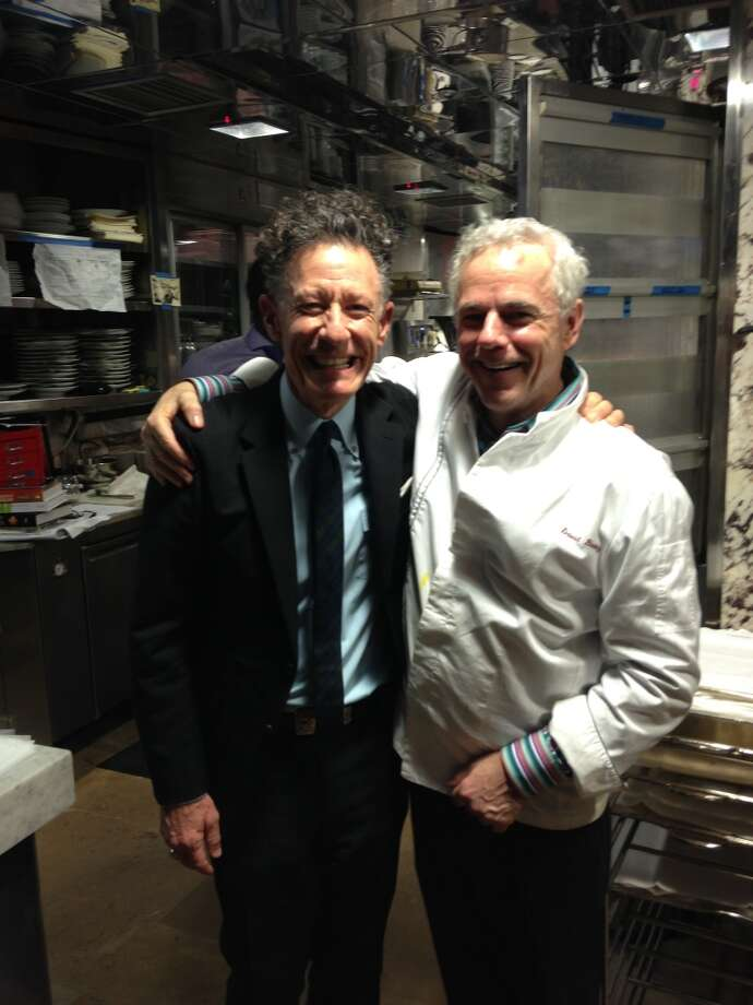 Lyle Lovett, left, and David Bouley in the kitchen of Bouley restaurant in New York City. David and Kelly Hamilton enjoyed a multicourse dinner at the swanky restaurant with Lovett after a day of previewing the new Lyle Lovett for Hamilton Shirts line.